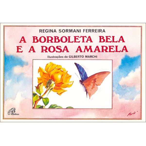 Borboleta bela e a rosa amarela (A)