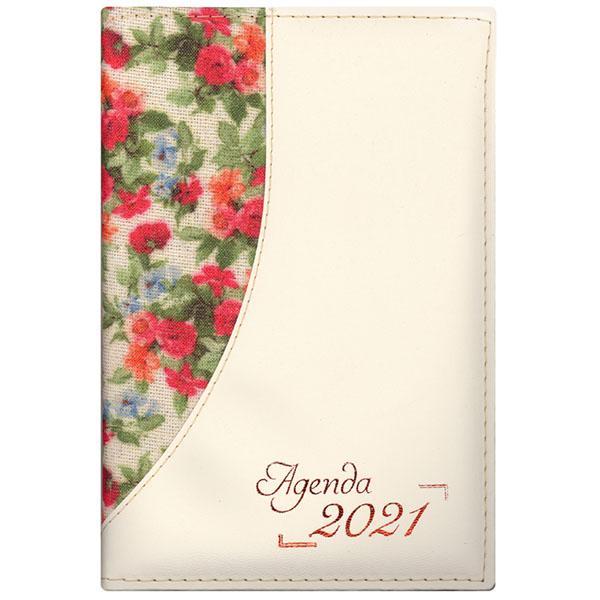 Agenda diária de mesa costurada 2021 - Flores brilho / Chevroux marfim