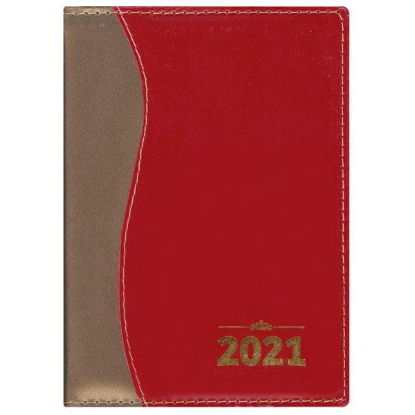 Agenda de mesa tradicional 2021 - Metal ouro / liso vinho