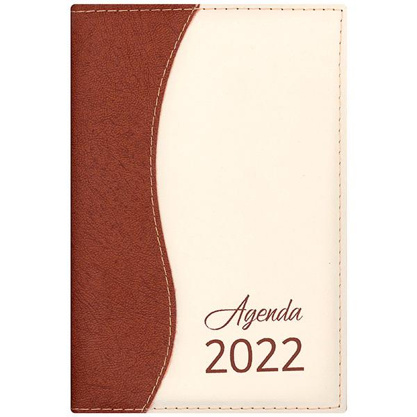 Agenda diária de mesa costurada 2022 - ouro/marfim