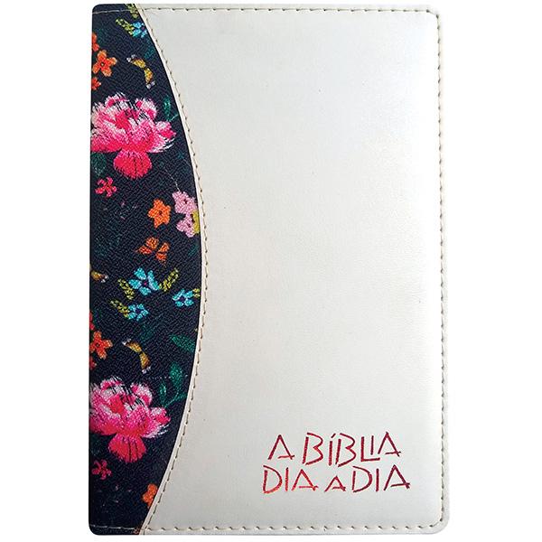 Bíblia dia a dia 2022 - luxo - Flores escuras / chevroux marfim