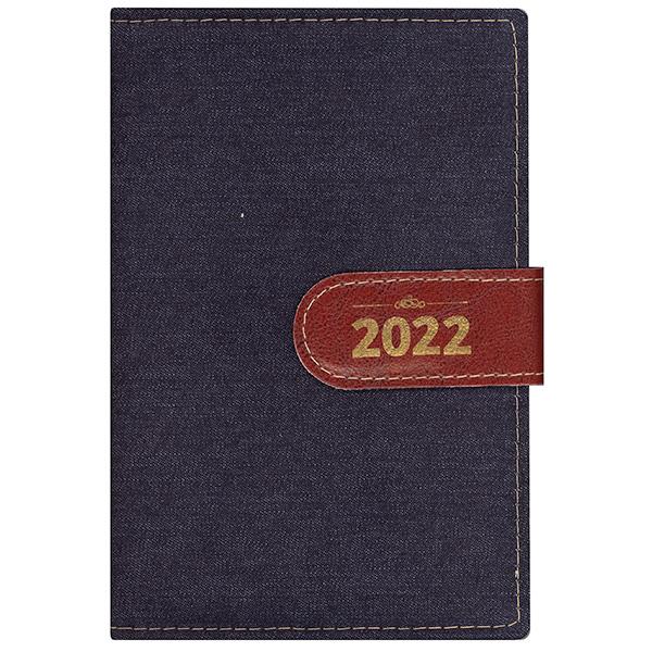 Agenda diária de mesa costurada 2022 - Jeans