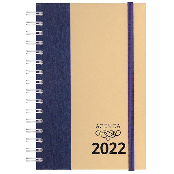 Agenda diária de mesa wire-o 2022 - Metal azul / metal bege