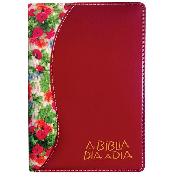 Bíblia dia a dia 2022 - luxo - Flores brilho / liso vinho