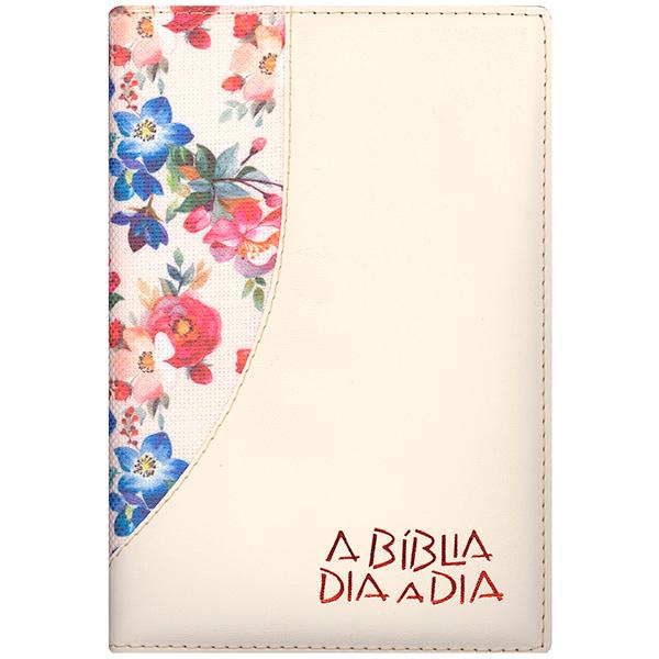 Bíblia dia a dia 2022 - luxo - Flores grandes / marfim