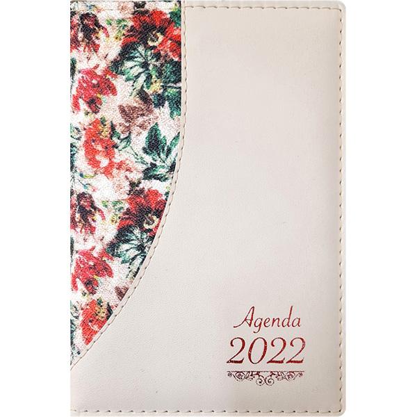Agenda diária de mesa costurada 2022 -Flores gran/Chevroux marfim